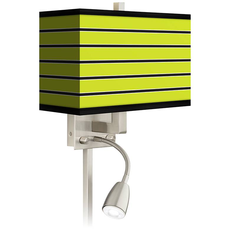 Bold Lime Green Stripe LED Reading Light Plug-In Sconce