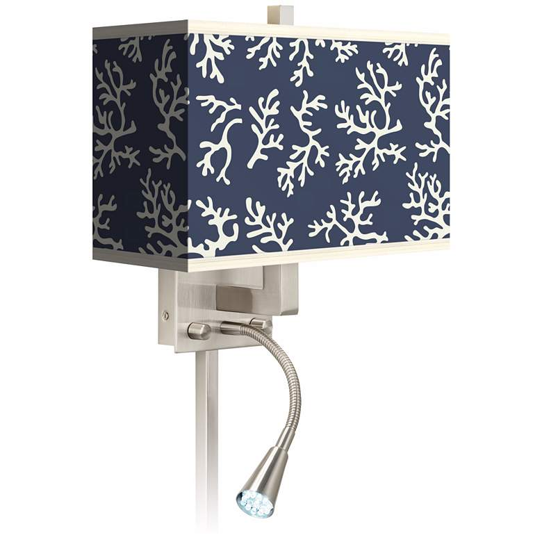 Prussian Coral Giclee LED Reading Light Plug-In Sconce