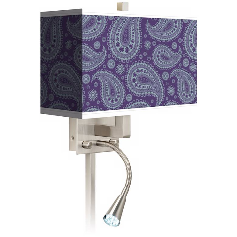Purple Paisley Linen Giclee LED Reading Light Plug-In Sconce