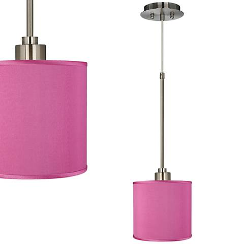 "Pink Orchid 7"" Wide Faux Silk Mini Pendant Light"
