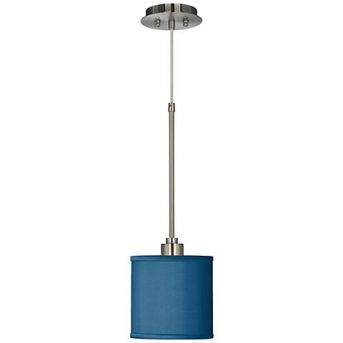 Blue Faux Silk Mini Pendant Light