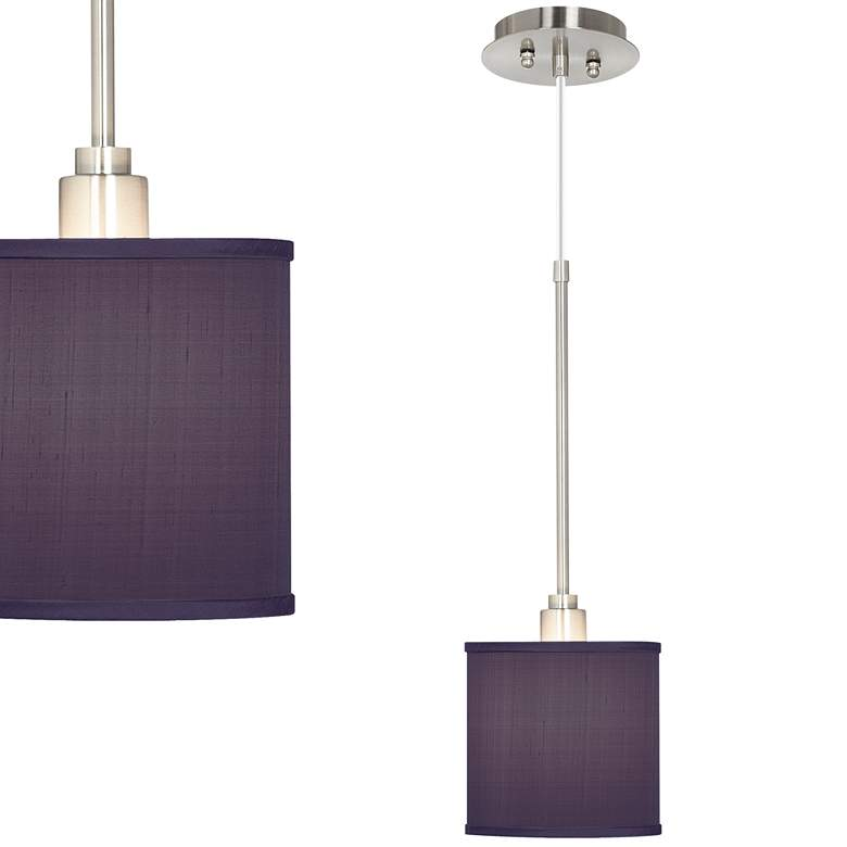 "Eggplant Purple 7""Wide Textured Faux Silk Mini Pendant Light"