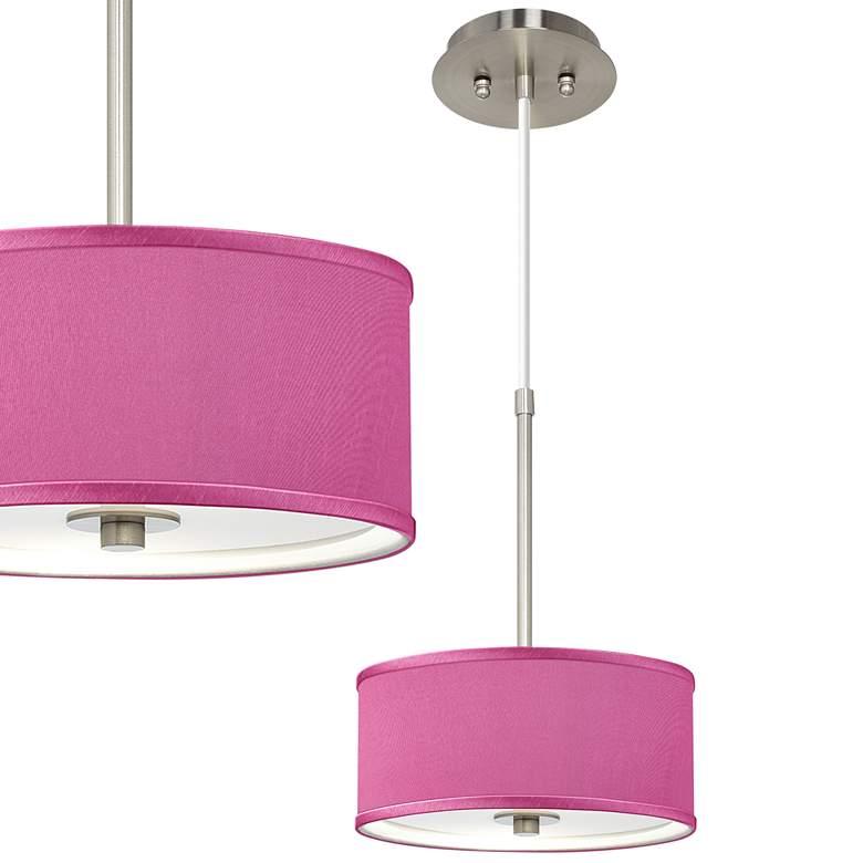 "Pink Orchid Faux Silk 10 1/4"" Wide Mini Pendant"