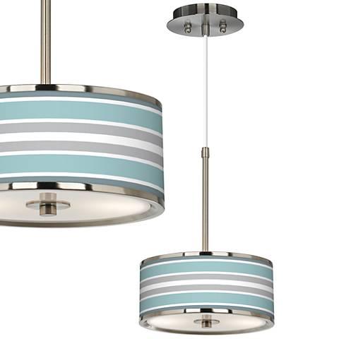 "Multi Color Stripes Giclee Glow 10 1/4"" Wide Mini Pendant"