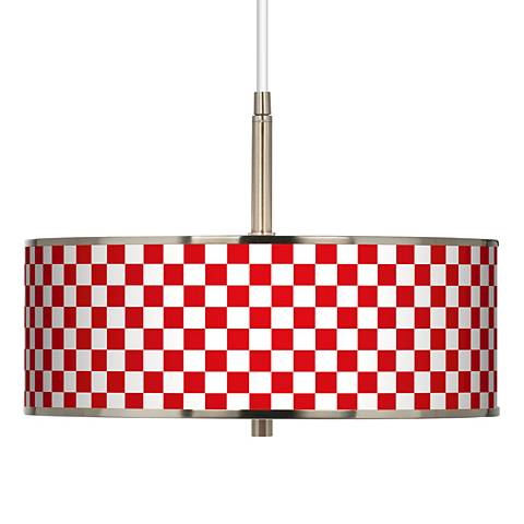 """Checkered Red Giclee Glow 16"""" Wide Pendant Light"""