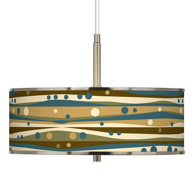 """Dots and Waves Giclee Glow 16"""" Wide Pendant Light"""