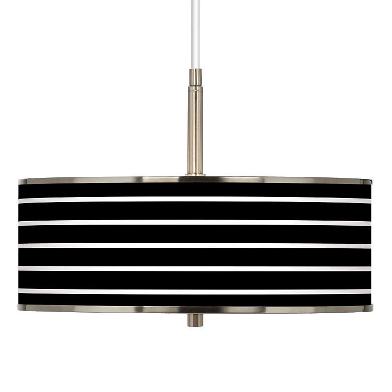"Bold Black Stripe Giclee Glow 16"" Wide Pendant"