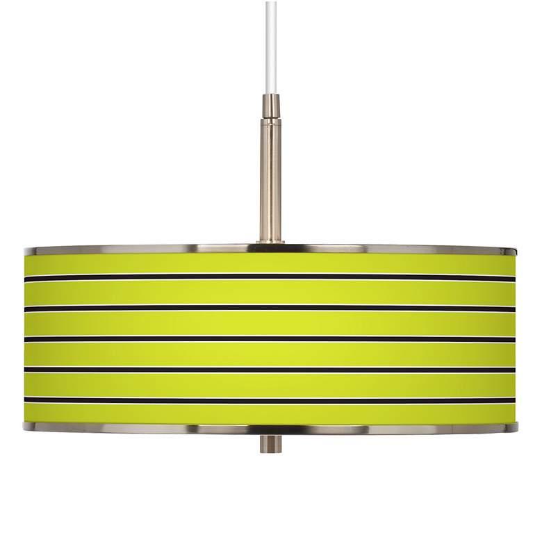 "Bold Lime Green Stripe Giclee Glow 16"" Wide Pendant Light"