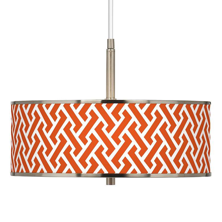 """Red Brick Weave Giclee Glow 16"""" Wide Pendant Light"""