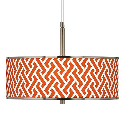 "Red Brick Weave Giclee Glow 16"" Wide Pendant Light"