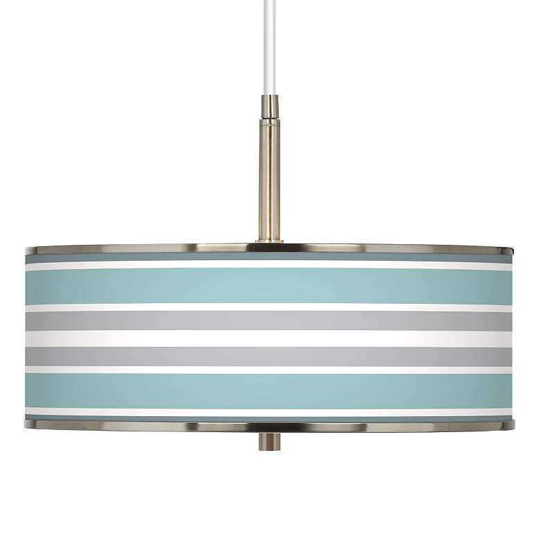 "Multi Color Stripes Giclee Glow 16"" Wide Pendant Light"