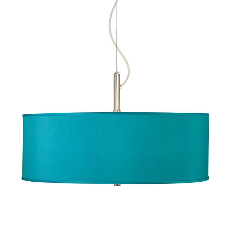 "Teal Blue Polyester 20"" Wide Pendant Chandelier"
