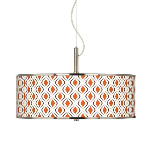 "Retro Lattice Giclee Glow 20"" Wide Pendant Light"