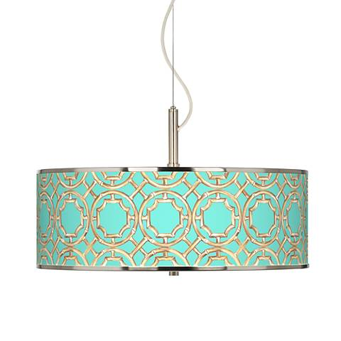 "Teal Bamboo Trellis Giclee Glow 20"" Wide Pendant Light"