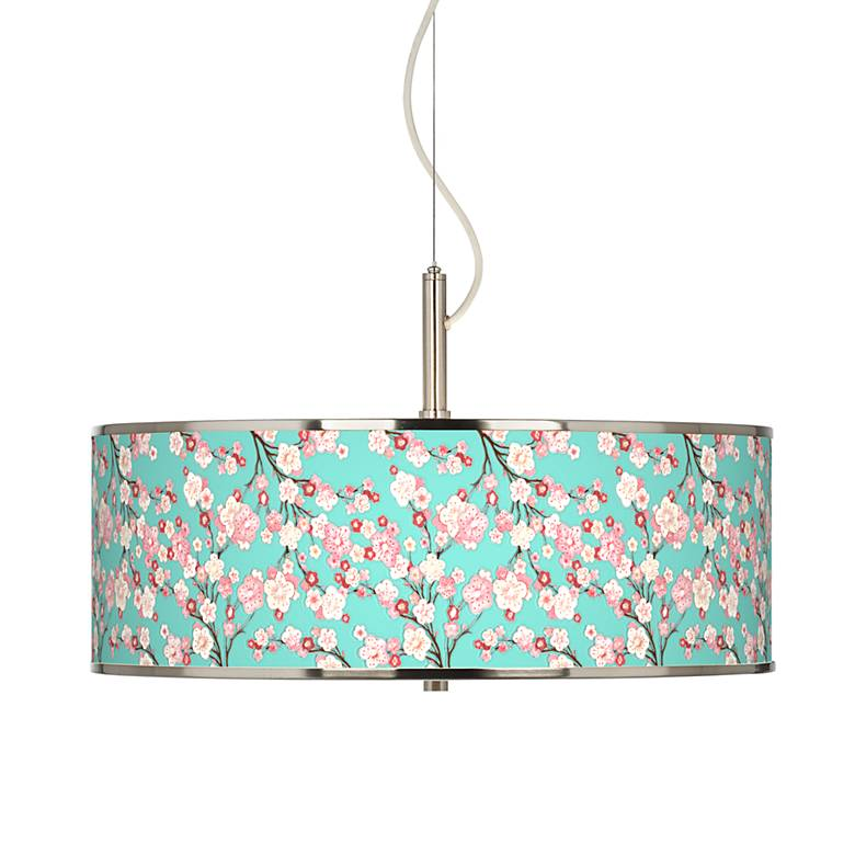 """Cherry Blossoms Giclee Glow 20"""" Wide Pendant Light"""