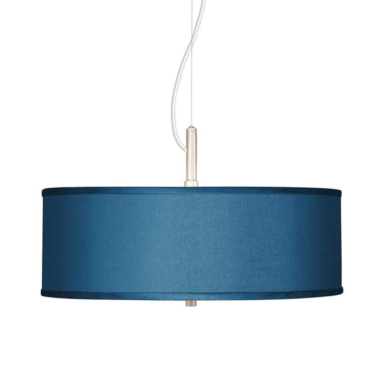 "Blue Faux Silk 20"" Wide Pendant light"