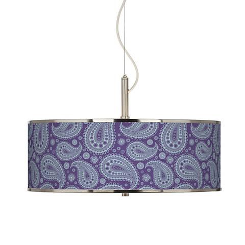 "Purple Paisley Linen Giclee Glow 20"" Wide Pendant Light"