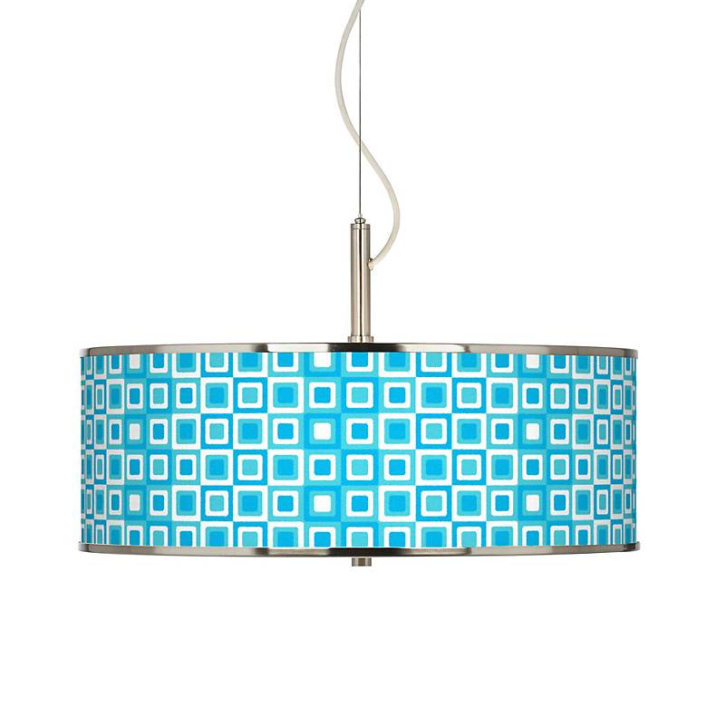 "Blue Boxes Linen Giclee Glow 20"" Wide Pendant Light"