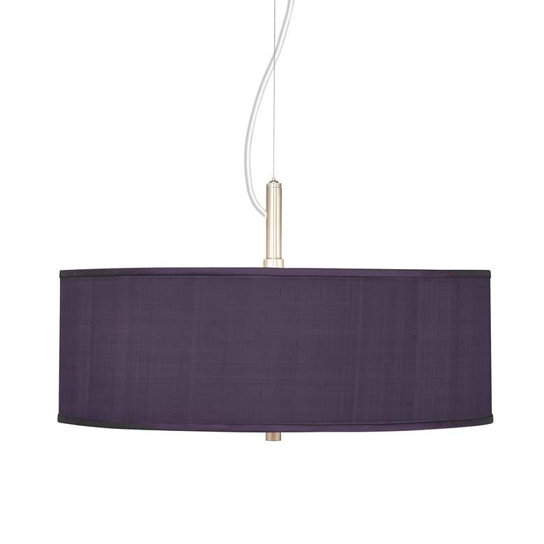 "Eggplant Textured Faux Silk 20"" Wide Pendant Chandelier"