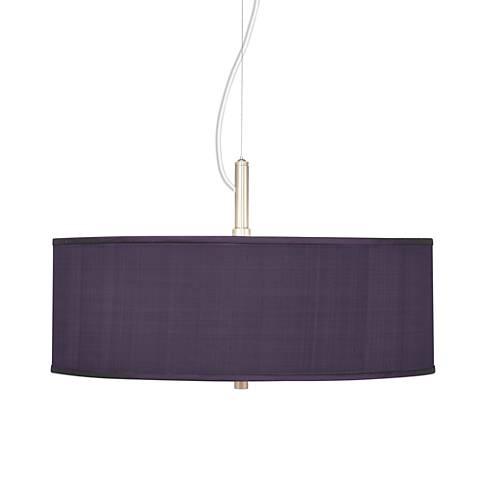 "Eggplant Textured Silk 20"" Wide Pendant Chandelier"