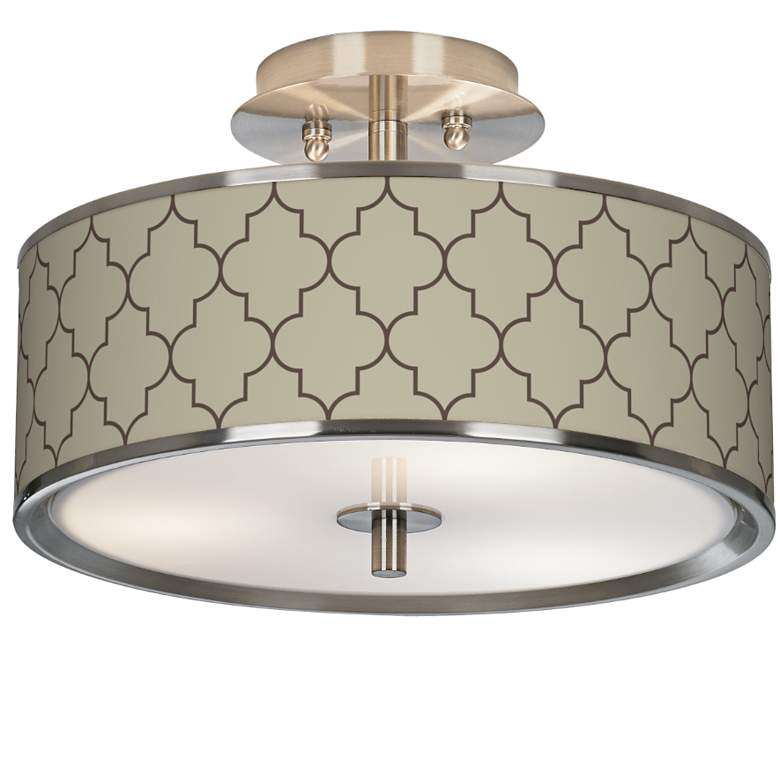 """Tangier Taupe Giclee Glow 14"""" Wide Ceiling Light"""
