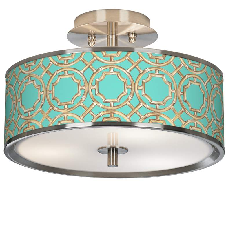 """Teal Bamboo Trellis Giclee Glow 14"""" Wide Ceiling Light"""