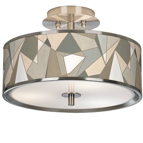 "Modern Mosaic I Giclee Glow 14"" Wide Ceiling Light"