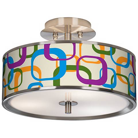 "Retro Square Scramble Giclee Glow 14"" Wide Ceiling Light"