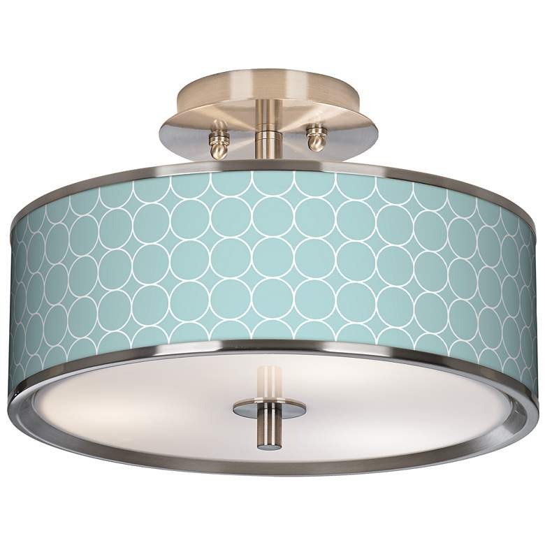 "Aqua Interlace Giclee Glow 14"" Wide Ceiling Light"