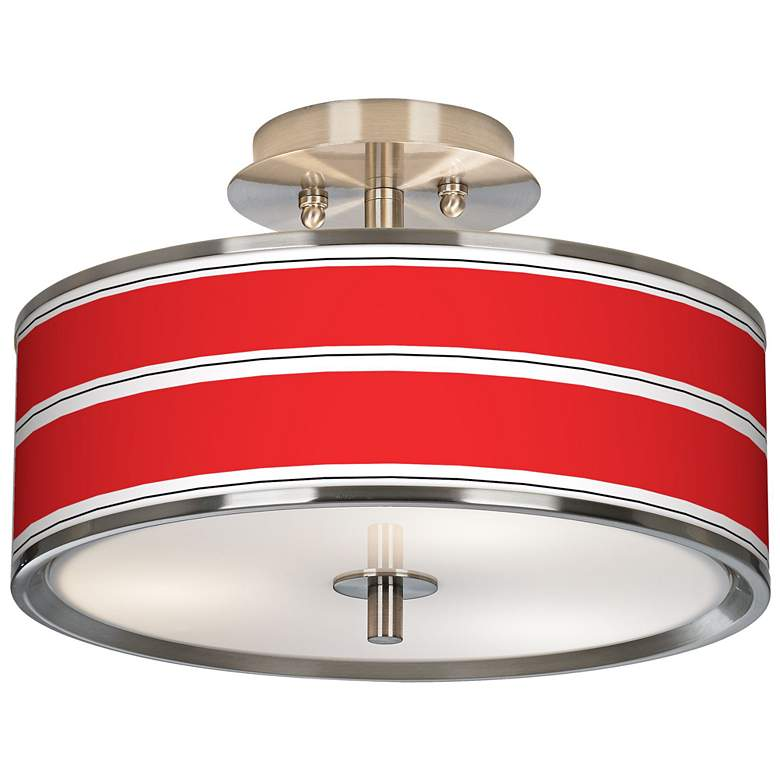 """Red Stripes Giclee Glow 14"""" Wide Ceiling Light"""