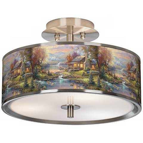 "Thomas Kinkade Nature's Paradise 14"" Wide Ceiling Light"
