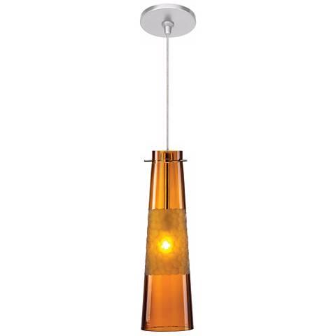 "LBL Bonn 3 3/4"" Wide Amber Nickel Mini Pendant"