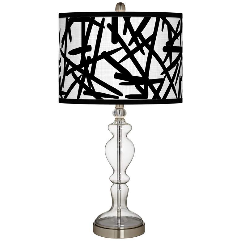 Sketchy Giclee Apothecary Clear Glass Table Lamp