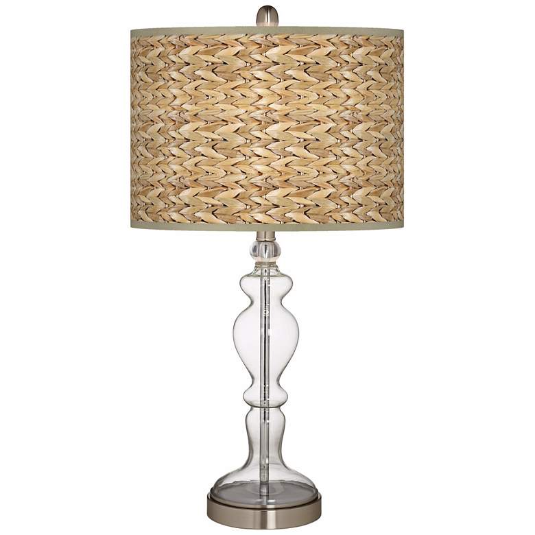 Seagrass Print Pattern Apothecary Clear Glass Table Lamp