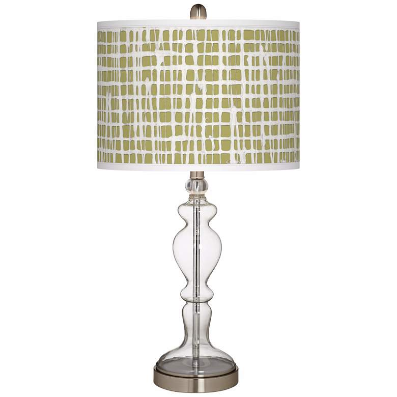 Ecru Screen Linen Apothecary Clear Glass Table Lamp