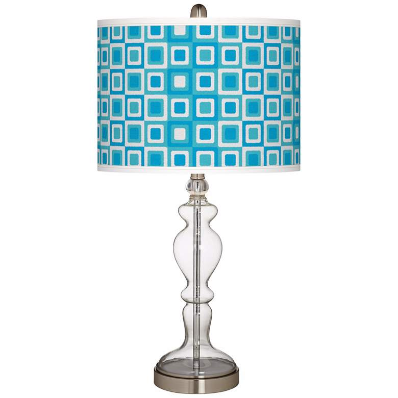 Blue Boxes Linen Giclee Apothecary Clear Glass Table Lamp