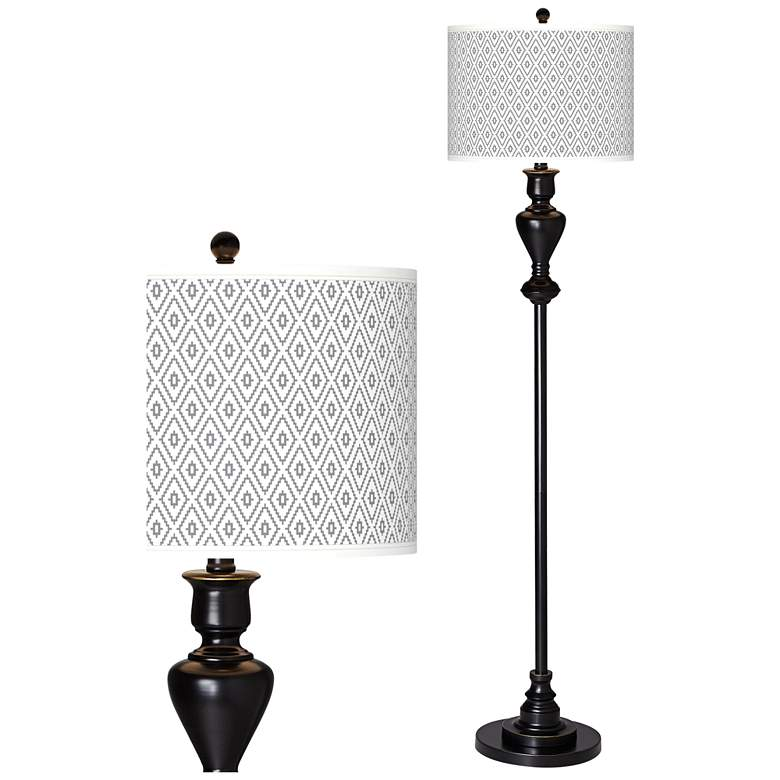 Diamonds Giclee Glow Black Bronze Floor Lamp