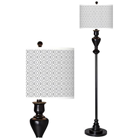 Diamonds Giclee Glow Black Bronze Floor Lamp