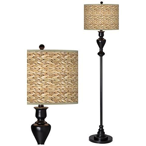 Seagrass Giclee Glow Black Bronze Floor Lamp