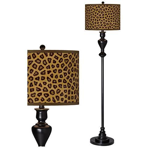 Safari Cheetah Giclee Glow Black Bronze Floor Lamp