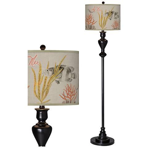 La Mer Coral Giclee Glow Black Bronze Floor Lamp