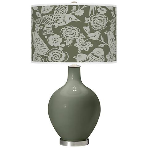 Deep Lichen Green Aviary Ovo Table Lamp