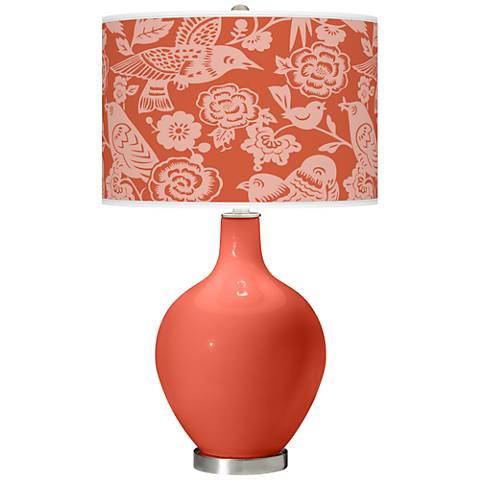 Koi Orange Ovo Table Lamp with Aviary Pattern Shade