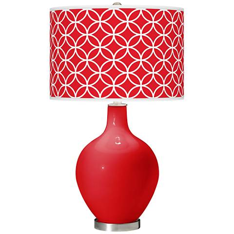 Bright Red Circle Rings Ovo Table Lamp