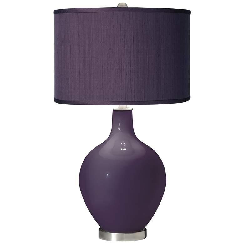 Quixotic Plum - Eggplant Faux Silk Shade Ovo Table Lamp