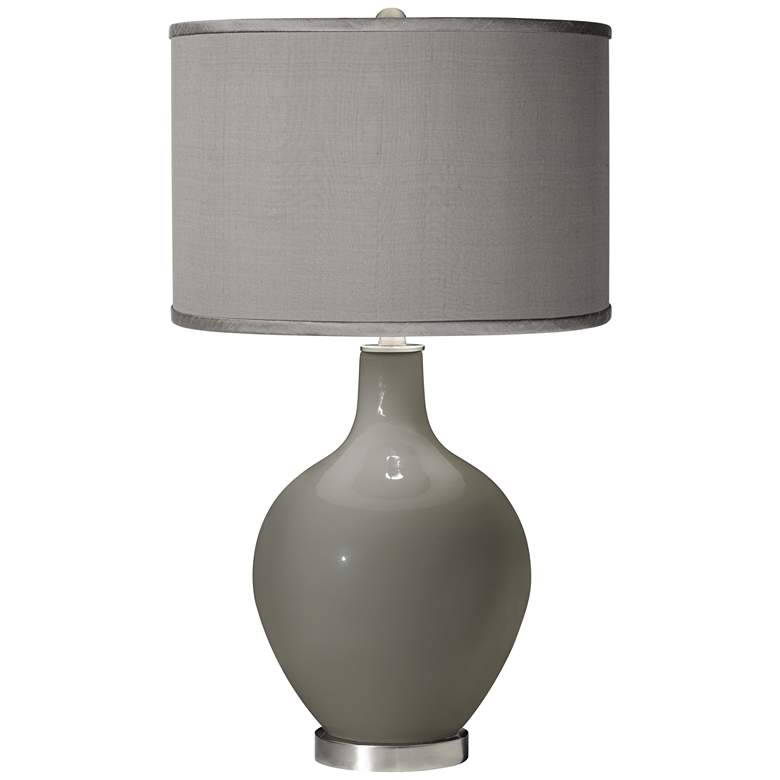 Gauntlet Gray - Gray Polyester Shade Ovo Table Lamp