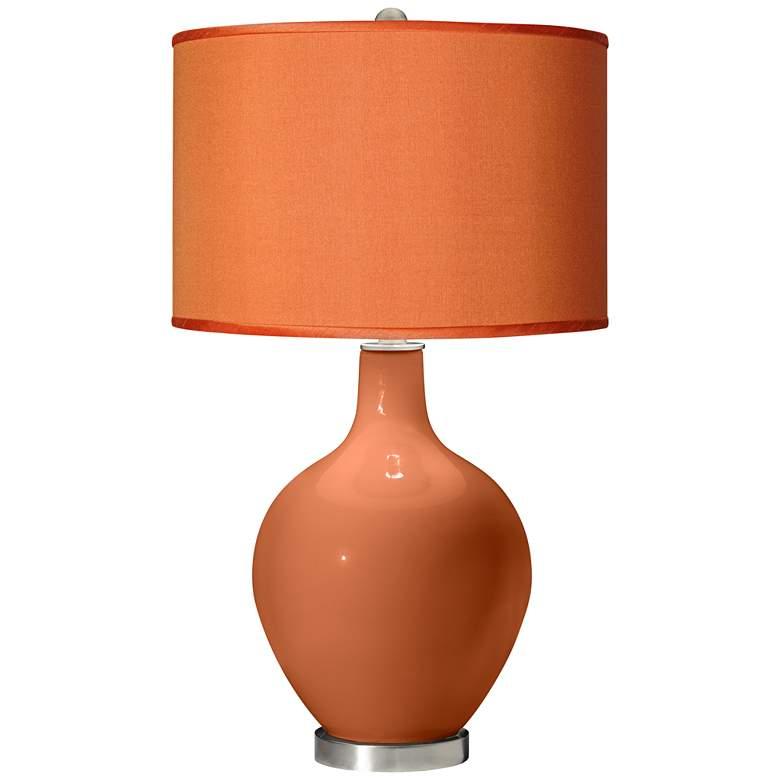 Robust Orange - Orange Faux Silk Shade Ovo Table Lamp