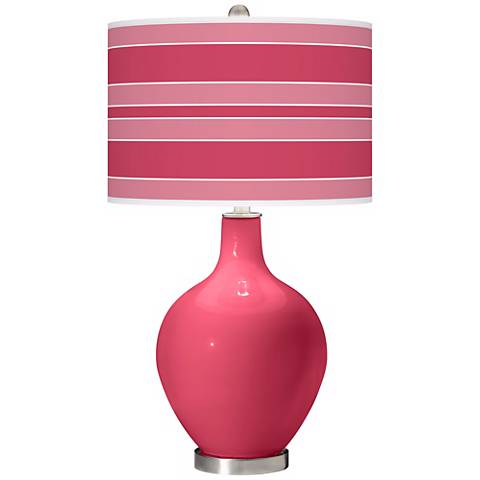 Eros Pink Bold Stripe Ovo Table Lamp