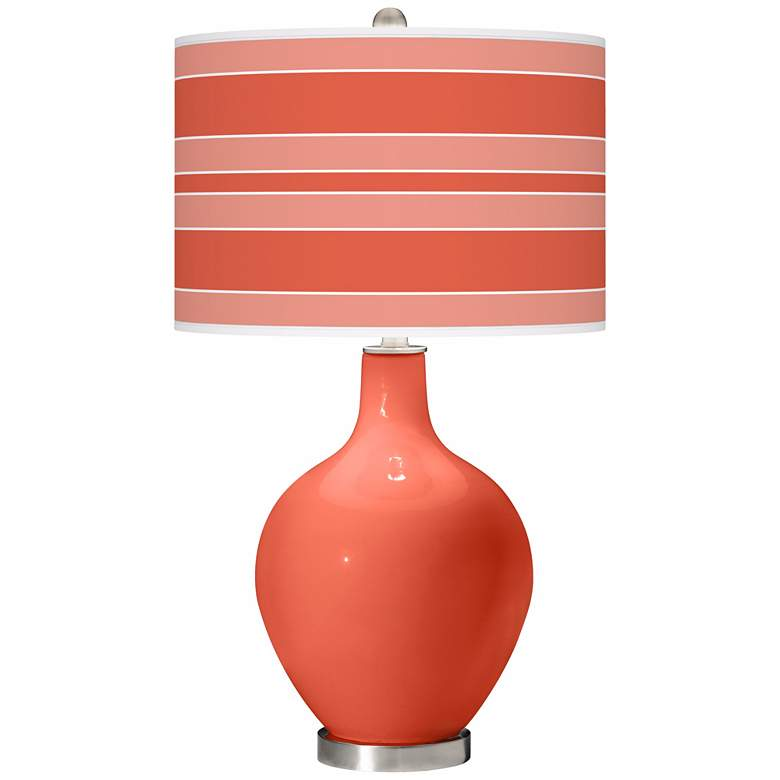Daring Orange Bold Stripe Ovo Table Lamp