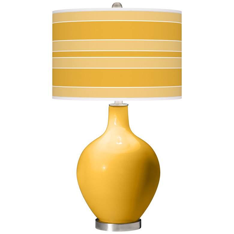 Goldenrod Bold Stripe Ovo Table Lamp